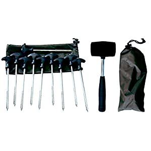 10 QUALITY BIVVY PEGS IN BAG PLUS MALLET