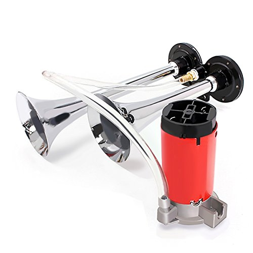 Audew 12V Air Horns Chrome Dual Trumpet 150db Super Loud With Compressor Twin Tone Horn for SUV Truck Train Van Boat -