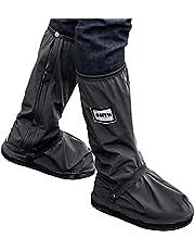 USHTH - Funda impermeable para botas de lluvia con reflector (1 par) (Negro-XXL(13.4 pulgadas))
