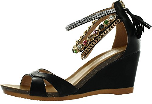 Refresh Passion-01 Womens Bejeweled Ankle Strap Back Zip Fringe Wedge - Bejeweled Wedge