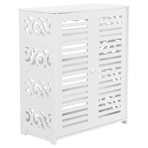 4-Tier Baroque Double Door Wood Plastic Board Shoe Cabinet,Storage Shelf Rack Organizer Cupboard (White ) (Shoe Double Cabinet)