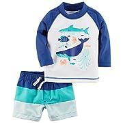 Carter's Baby Boys' Rashguard Set, Navy Shark, 6M