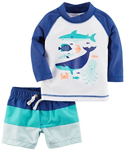 Carter's Baby Boys' Rashguard Set, Navy Shark, 24M by Carter's