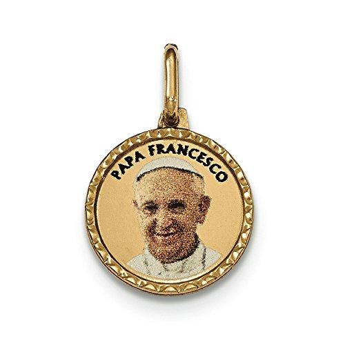 Or jaune 14carats poli Imprimé Papa Francesco Médaille Pendentif
