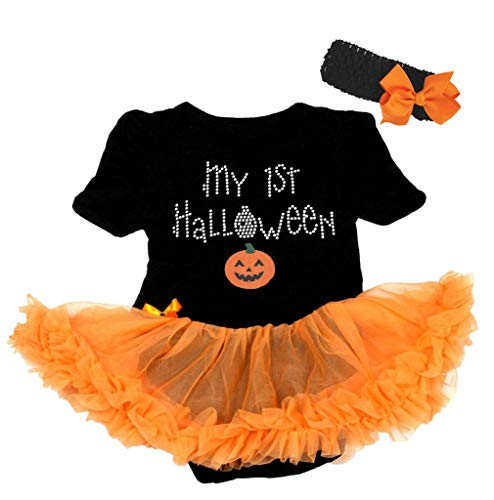 Petitebella My 1st Halloween Pumpkin Bodysuit Tutu Baby Dress Nb-18m (Black/Orange, 0-3 Months) ()