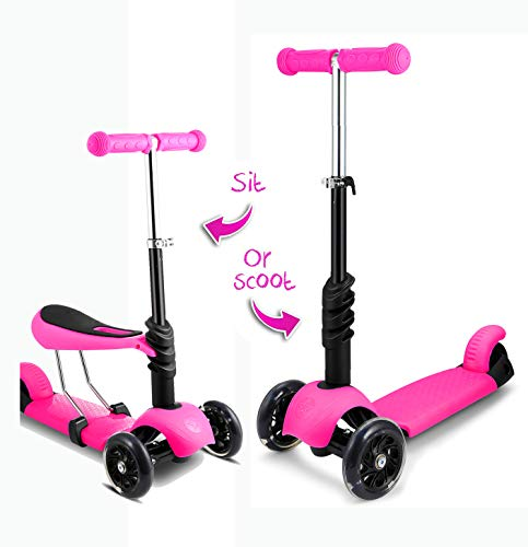 Hosmat 2-in-1 Scooter for Kids Scooters 3 Wheeled Scooter 3 Wheel Scooter for Kids Ages 6-12