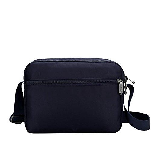 Yy.f Nuevo Paquete Bolsas De Ocio De Los Hombres Bolso De Nylon Impermeable Bolso De Hombro En Diagonal El Desgaste Paquete De Ondas Tres De Color Sólido Blue