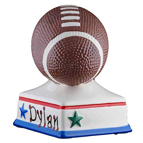 Football Boys Piggy Bank - (Personalized & Custom With Name And Year) (First Financial Toy For Teaching Boys & Girls About Saving Money) (Perfect Unique Gift Idea For Babys 1st Birthday)