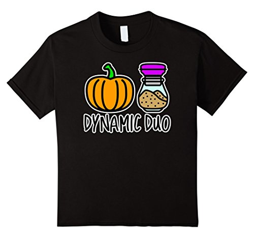 Funny Duo Costumes For Girls (Kids Pumpkin Spice Dynamic Duo Funny T-Shirt 8 Black)