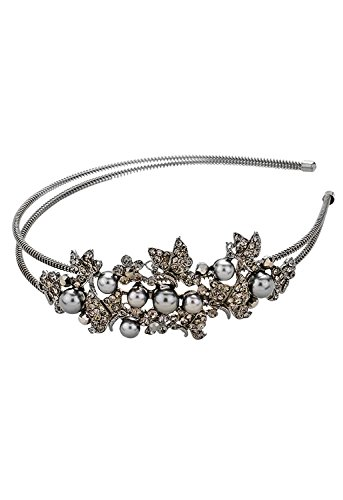 Rosemarie Collections Women's Faux Gray Pearl and Crystal Headband