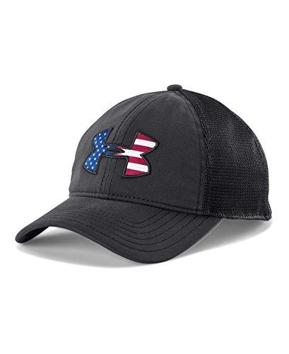 Under Armour Men's Big Flag Logo Mesh Cap, Black/White, One