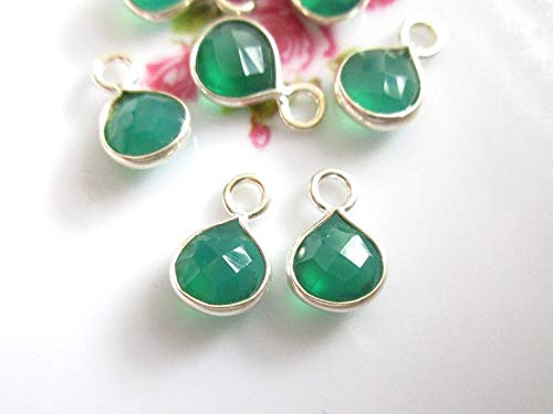 4 pcs, 7mm Green Onyx Faceted Small Trillion Triangle Sterling Silver Pendant Charm Earring Findings, PC-0286