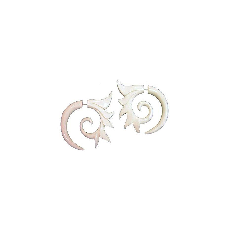 Fancy Tribal Spiked Spiral Earrings Buffalo Bone Split Expanders Organic Jewelry