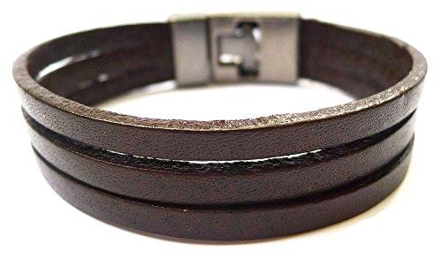 Bijoux De Ja 3 Plain Strip Leather Wristband Wrap Bracelet Size 8.0 Inches (Brown)