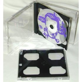 (25) Double Slimline CD Jewel Boxes with a Dark Grey / Black Pivot (Double Side Black Dvd Cases)
