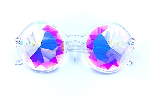 [Premium Clear NOXIK Kaleidoscope Glasses - Best Rave Diffraction Glass Crystal Lenses] (Festival Costume For Men)
