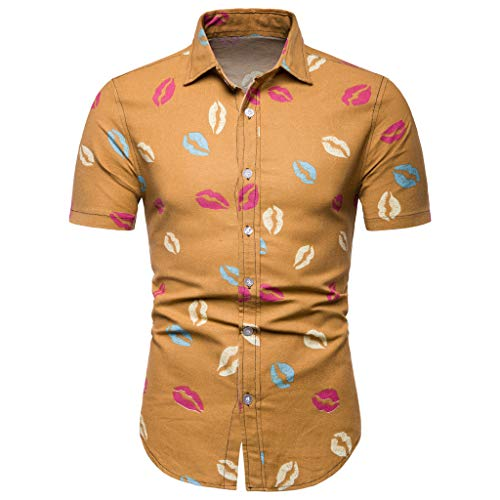 - XLnuln Fashion Men's Shirt Slim Fit Summer Casual Short Sleeve Printed Shirt Top Blouse Lapel Printing Short Sleeve Shirt Khaki