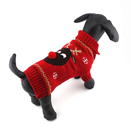 New,Cool and Cute Christmas Elves Elf Sweater Clothing Pet Cat Dog Costume (L, M) -