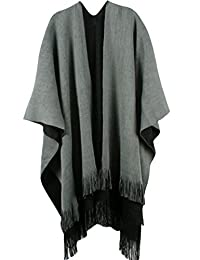 Pink Wind Women Winter Knitted Cashmere Deversible Poncho Capes Shawl Cardigans