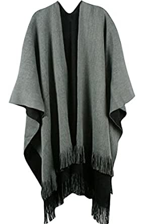 Pink Wind Women Winter Knitted Cashmere Poncho Capes Shawl