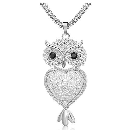 Elegant Alloy Crystal Inlaid Vintage Hollow Cutout Owl Charm Sweater Chain Pendant Necklace for Women, Silver