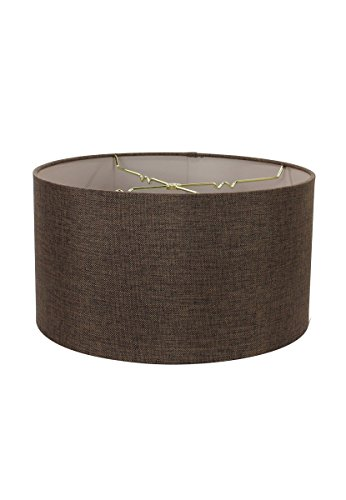 18x18x10 Chocolate Burlap Shallow Drum Lampshade with Brass Spider fitter By Home Concept - Perfect for table and Floor lamps - Extra Large, Brown