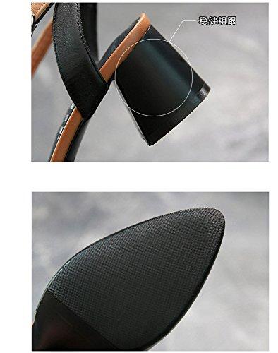 de baotou de salvaje grosor negro FJJJDJKCF cuero hebilla 5cm con puntadas de sandalias F0wxq5