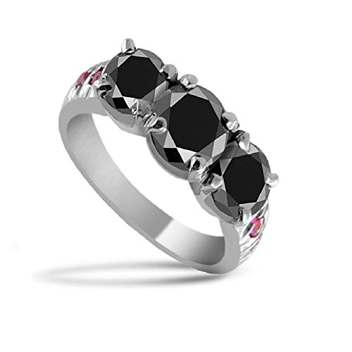 Certified 2 Cts Round Brilliant Cut Black Diamond with Ruby Accents Silver Ring by skyjewels