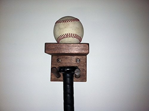 Baseball Bat Rack Display Holder 1 Full Size Bat 1 Ball Holder Mahogany by MWC