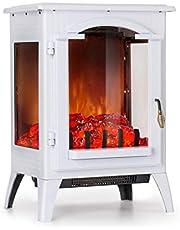 Klarstein Graz - Elektrischer Kamin mit Flammeneffekt, Elektrokamin, E-Kamin, 1000/2000 Watt, bis zu 30 m², Thermostat, Heizfunktion, stufenlos, PanoramaView, schwarz oder weiß