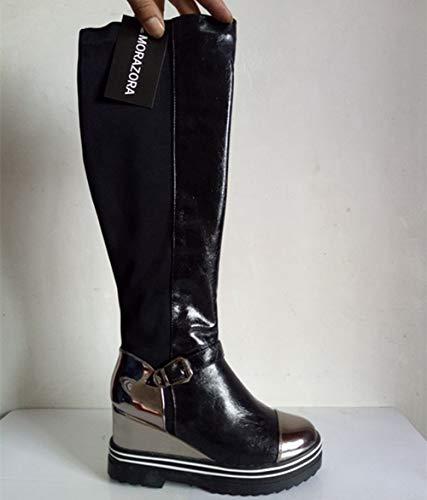 Knee High Boot Women Platform Fashion High Heels Buckle Winter Autumn Round Toe Female Long Boots