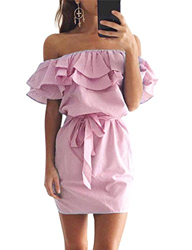 Ruffles Dress Dresses Dress cindere Women Striped with for Women Dresses for qdZd0