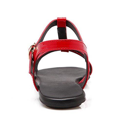 AalarDom Mujer Hebilla Puntera Abierta Mini Tacón Charol Sólido Sandalias de vestir Rojo(QP)