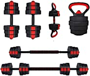 Adjustable Dumbbell Barbell, XL MUSCLE88 4 in 1 Adjustable Dumbbell Set   66 lbs Barbell Set with Connector +