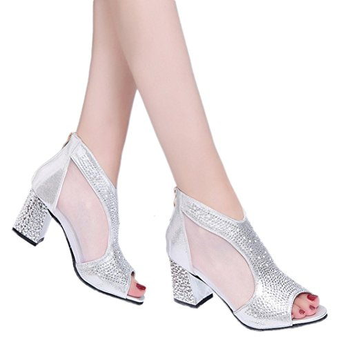 Lolittas Summer Gladiator Sandals for Women Ladies, Sliver Gold Sparkly Glitter High Block Heel Peep Toe Wide Fit Rivets Zipper Shoes Size 2-7 Silver