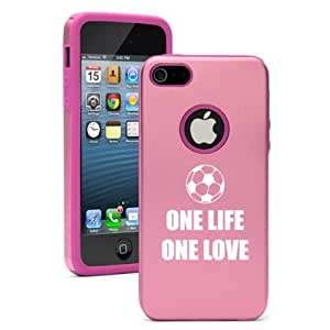 Apple iPhone 5c Pink CD1814 Aluminum & Silicone Case Cover One Life One Love Soccer