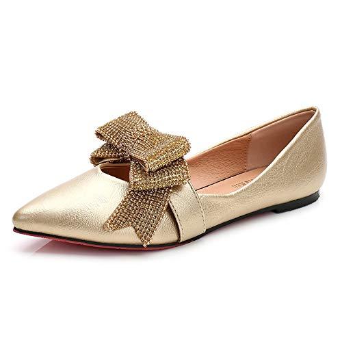 FLYRCX Los Zapatos Planos Acentuados de Las señoras Calzan los Zapatos Planos del Trabajo de la Oficina del Arco del Rhinestone de la Boca Baja, 39 UE 37 EU