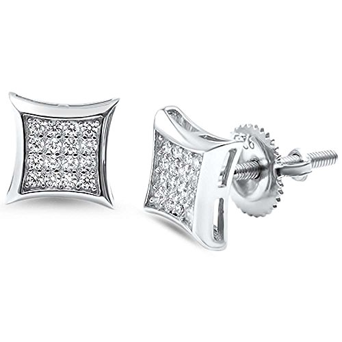 Sterling Silver Square Micro Pave Modern Stud Earrings ()