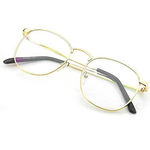 be20bc77090 PenSee Oversized Circle Metal Eyeglasses Frame Inspired Horned Rim Clear  Lens Glasses (Gold)