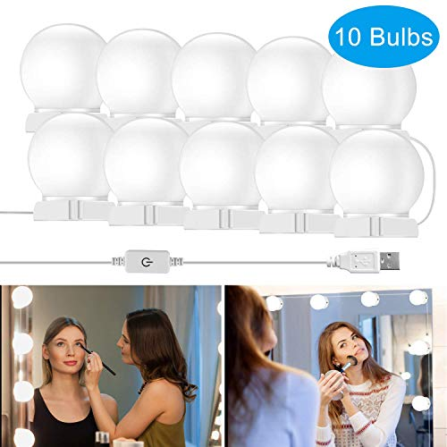 [UL Listed] Vanity Mirror Lights,Elitlife 10 Hollywood Style Bulbs,7000K Dimmable Daylight White,12.4FT/3.8M Hidden Adjustable Length LED Mirror Light