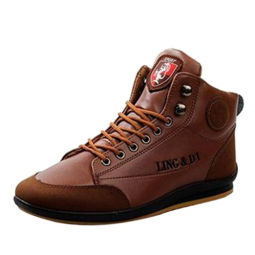 Hee Grand Men's Casual Velvet-Added Lace up High Top Warm Boots CN 40 (US 7)