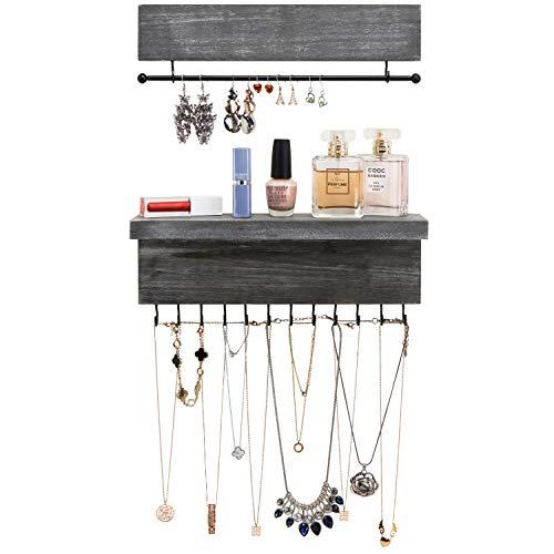 MyGift Ash Gray Wall Mounted Wood Hanging Jewelry Organizers, Set of 2
