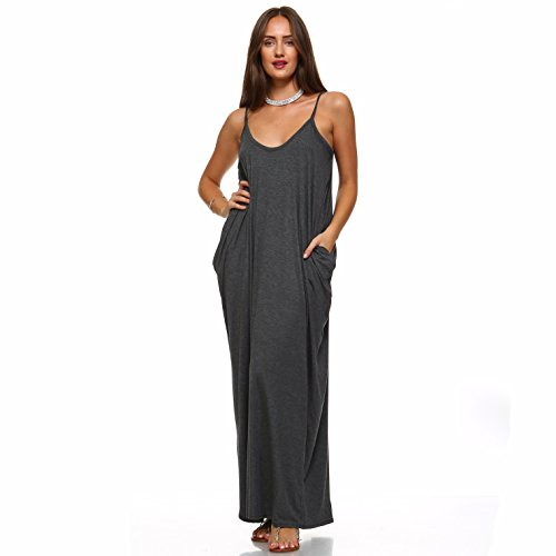 (Isaac Liev Women's Casual Maxi Dress with Pockets (Large, Charcoal))
