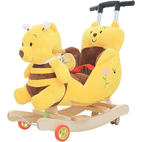 Monitor The Pooh Winnie Baby (Rocking horse ZJING Children's Early Education Trojan Children's Baby Rocking Chair Baby Rocking Cradles Children's Toys Gift)