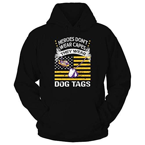 FanPrint LSU Tigers Hoodie - Veteran - Dog Tags - Hoodie/Black/M