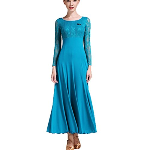 YuLin Womens Latin Dance Outfit Mesh Splice Long Sleeves Performance Costume Self-cultivation Dancing Dresses, (Contemporary Dance Costumes For Boys)