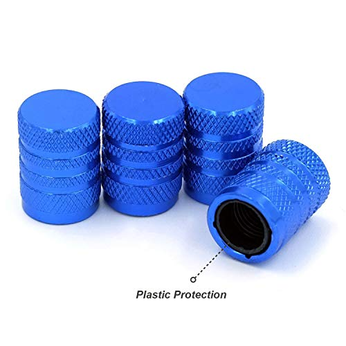 Tire Valve Stem Caps, Blue, 4 pcs/Pack, Anodized Aluminum Tire Valve Cap Set, Corrosion Resistant, Universal Stem Covers for Trucks Motorcycles and