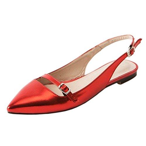 Mode Slingback TAOFFEN Sandales Red Bout Femmes Pointu PfqURw