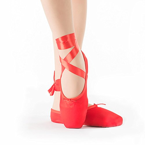 Girls Pointe Shoes Red Ballet Shoe Leather Sole with Free Gel Silicone Toe Pads and Ribbons (US4.5 (Foot length:8.66