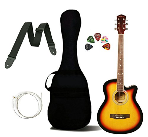Bronz BL03C-SB Cutaway Acoustic Guitar, Sunburst, with Gig Bag, Strap, Strings and Picks